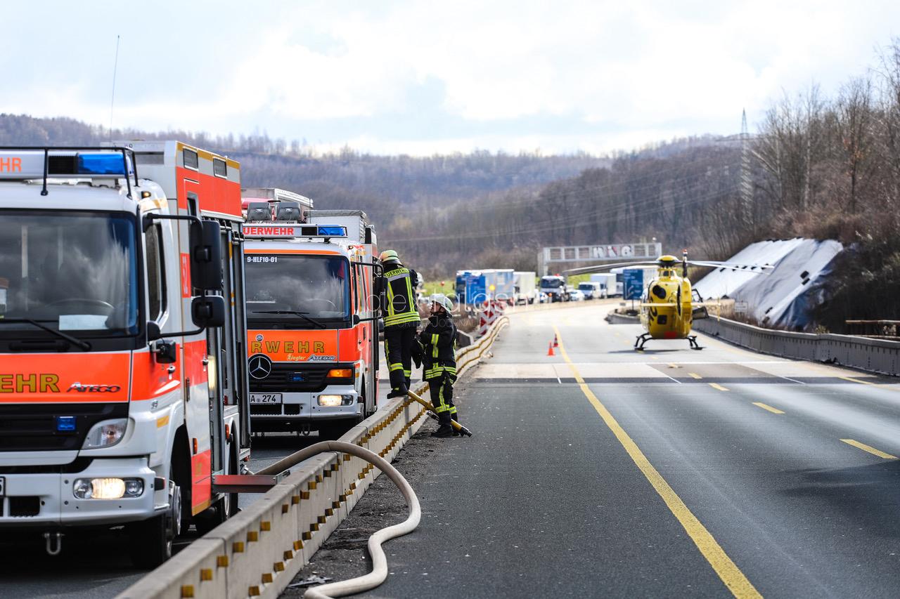 Schwerer Lkw-Unfall auf A45 auf der Lennetalbrücke