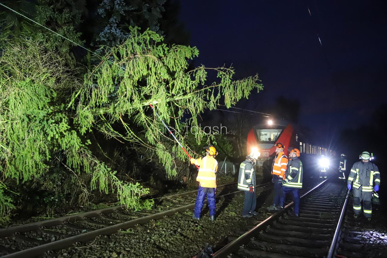 Baum fällt in die Oberleitung und bremst S-Bahn aus